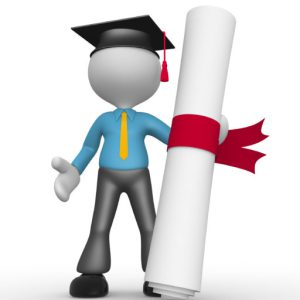 3d people - man, person with graduation cap and a diploma.